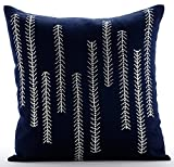 "Luxury Navy Blue Pillow Shams, Sequins & Beaded Pillow Shams, 24""x24"" Pillow Sham, Square Cotton Linen Shams, Contemporary Pillow Shams - We Go Up and Down"
