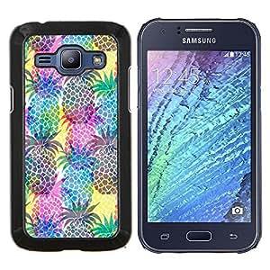 KLONGSHOP // Cubierta de piel con cierre a presión Shell trasero duro de goma Protección Caso - Piñas fruta colorida - Samsung Galaxy J1 J100 //