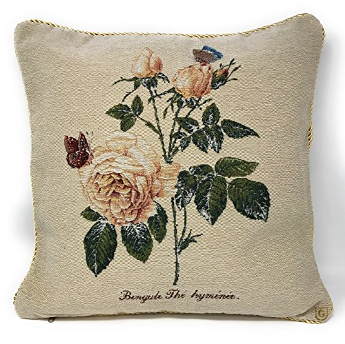 (Tache Square 18 X 18 Inch Square Golden Summer Rose Woven Tapestry Cushion Throw Pillow Cover Accent For Sofa Couch, 1 Piece)