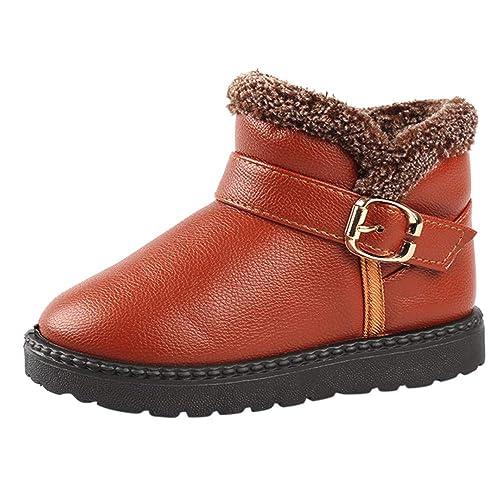 Botas Militares de Nieve Bajos para Niños Niñas Pelo Invierno PAOLIAN Botines Zapatos de Piel Bebés
