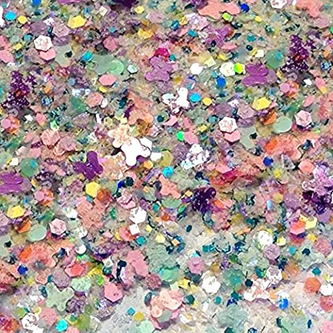 Custom & Fancy Approx 0.5 Teaspoon of Small Nail Art Glitter Confetti Made of Premium Mylar w/ Light Spring Tones Butterfly Easter Shimmer Dust Mix Design [Pastel Blue, Pink, Green & Yellow (Cheap Butterfly Stuff)