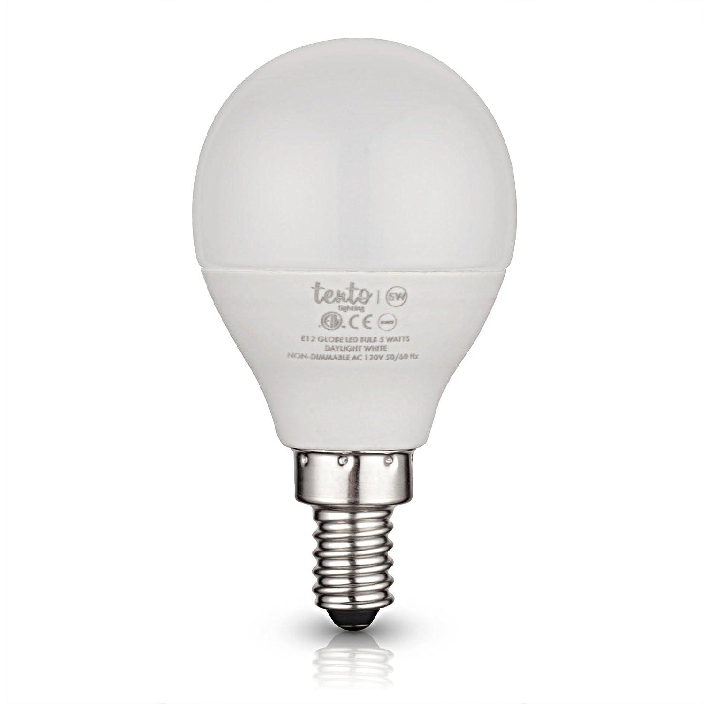 6000k Candelabra Base 40 Watts Equivlent 5 Watts G14 LED Candelabra Bulb Non-Dimmable Ceiling Fan Replacement Bulbs tento lighting E12 LED Daylight Bulbs Bright White Ceiling Fan Light Bulbs 5000k