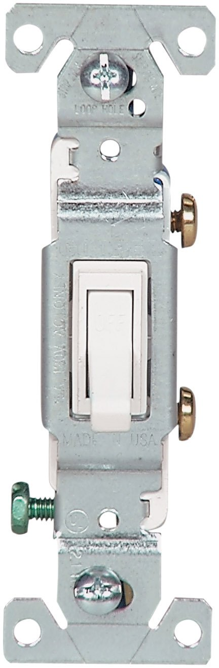 EATON Wiring 1301-7W-SP-L 15-Amp, 120-Volt Standard Grade Single Pole Framed Toggle AC Quiet Switch, White
