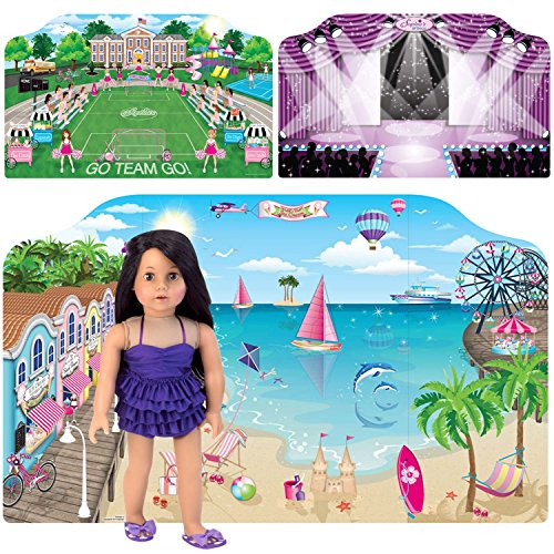 Two separate 18 Inch Doll Backdrops | Doll PlayScenes by Sophia's Includes 3 Scenes, 2 Backdrops | Sports Field, Runway, Beach Scenes (18 Inch Doll Clothes Separates)