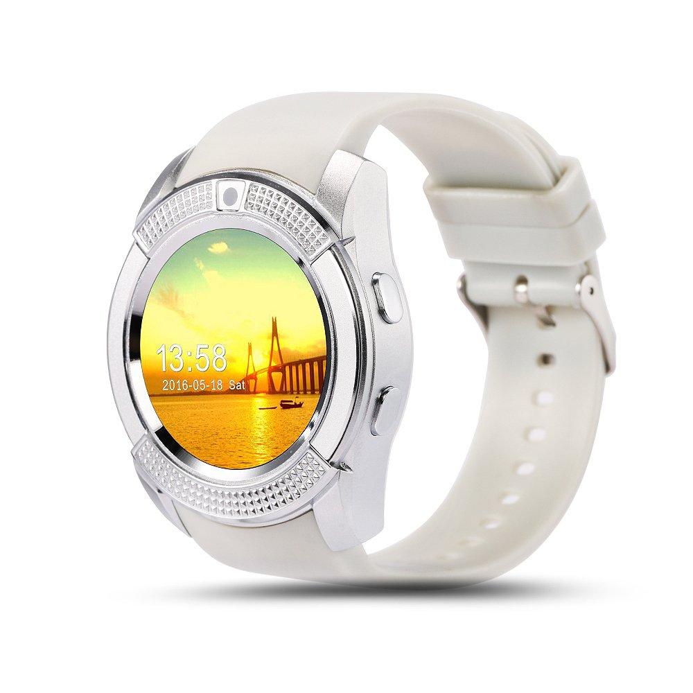 soloking sk80スマートウォッチ電話Bluetooth 3.0 Watchカメラ、Sim / TFカード、歩数計、スリープ分析for AndroidスマートフォンとIphone部分関数) B075BJSHZG ホワイト  ホワイト