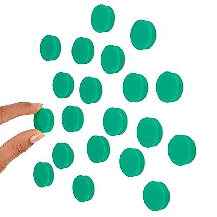 Imanes para pizarra blanca, 25 mm, 20 unidades, color verde