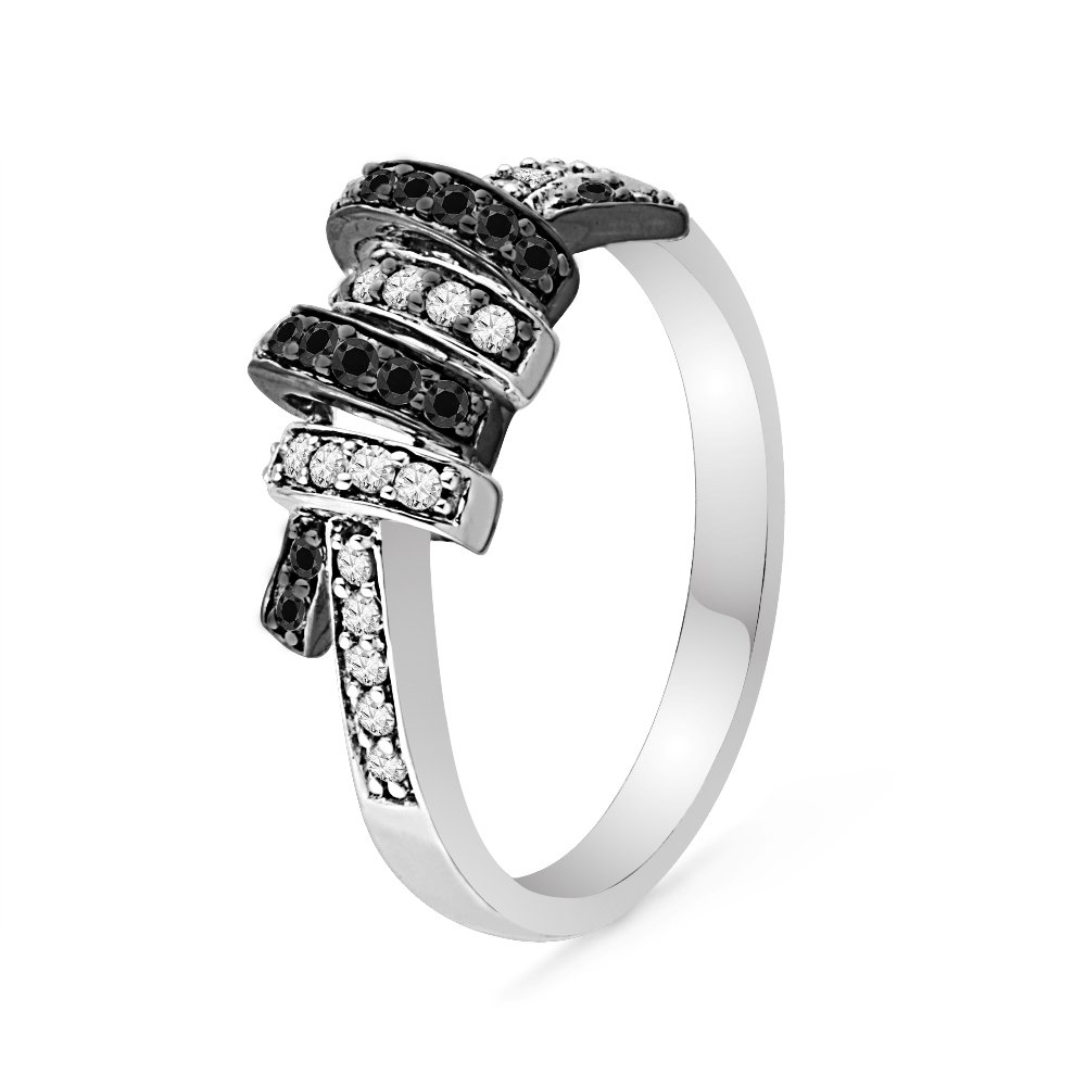 10KT White Gold Black and White Round Diamond Twisted Fashion Ring 1 5 cttw