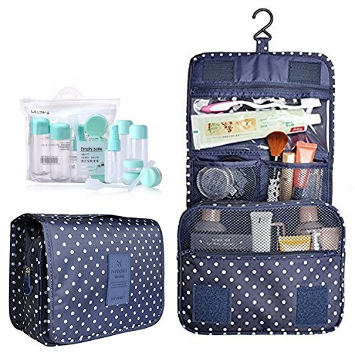 Hanging Toiletry Bag,Portable Travel Camping Organizer Waterproof Cosmetic Makeup Shaving Bag Toiletry Kit for Men & Women with Sturdy Hook and Travel Bottles (A Navy Dot)