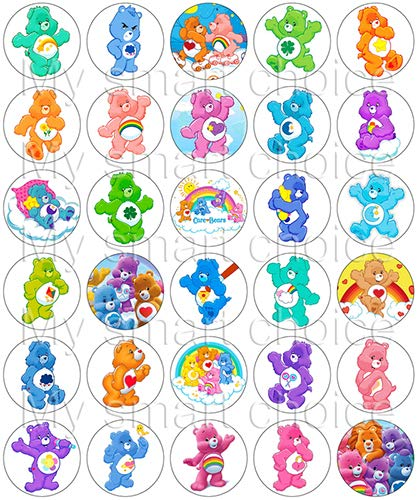 30 x Edible Cupcake Toppers – Care Bears Themed Collection of Edible Cake Decorations | Uncut Edible Prints on Wafer Sheet