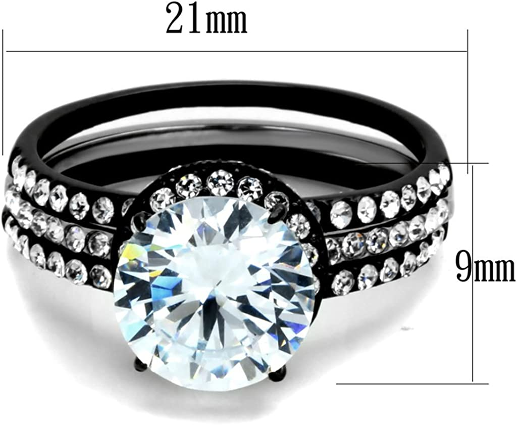 Marimor Jewelry HIS /& Hers 3PC Black ION Plated Stainless Steel Wedding Engagement Ring Band Set