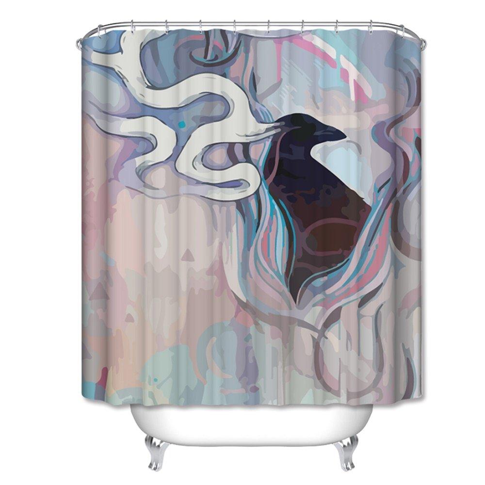 Duschvorhang HOME UK- Badezimmer-Geräte Wasserdicht Anti-Schimmel-Verdickung Umwelt-Polyester-Tuch Trennvorhang nicht verblassen Perforation Schattierung Anti-durch (größe : 150*180cm (width*Height))