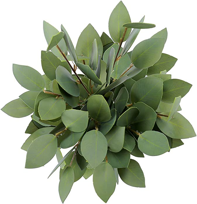 Greentime 8 Pack Artificial Greenery Stems Faux 13 Inches Greenery Eucalyptus Heart-Shaped Leaves for Bridal Wedding Bouquet Table Centerpiece Christmas Party Decor
