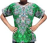 Raan Pah Muang RaanPahMuang Unisex Cotton Shirt Africa Dashiki Detailed Art Vibrant Colors Plus Size, XXXXX-Large, Dark Green