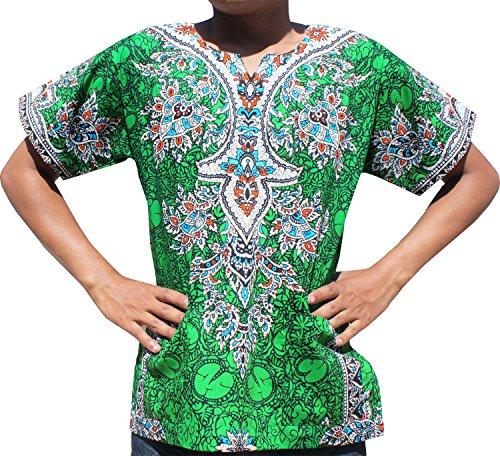 Raan Pah Muang RaanPahMuang Unisex Cotton Shirt Africa Dashiki Detailed Art Vibrant Colors Plus Size, XXXXX-Large, Dark Green by Raan Pah Muang