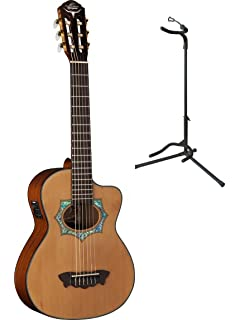 Oscar Schmidt Acoustic/Electric Requinto Guitar w/ Gig Bag & Stand, OH30SCE