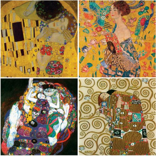 "CoasterStone AS9830 ""Gustav Klimt Collection"" Absorbent Coasters, 4-1/4-Inch, Set of 4"
