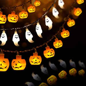 HueLiv Halloween Decorations, 20FT 60 LED Orange Pumpkin String Lights White Ghost Holiday Lights for Battery Operated for Indoor Outdoor Decor, Patio, Garden, Gate, Yard, Great Gift for Halloween