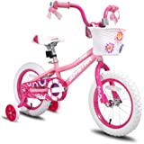 """JOYSTAR 12 14 16 Inch Kids Bike with Training Wheels for 2-7 Years Old Girls 32"""" - 53"""" Tall, Toddler Bike with 85…"""