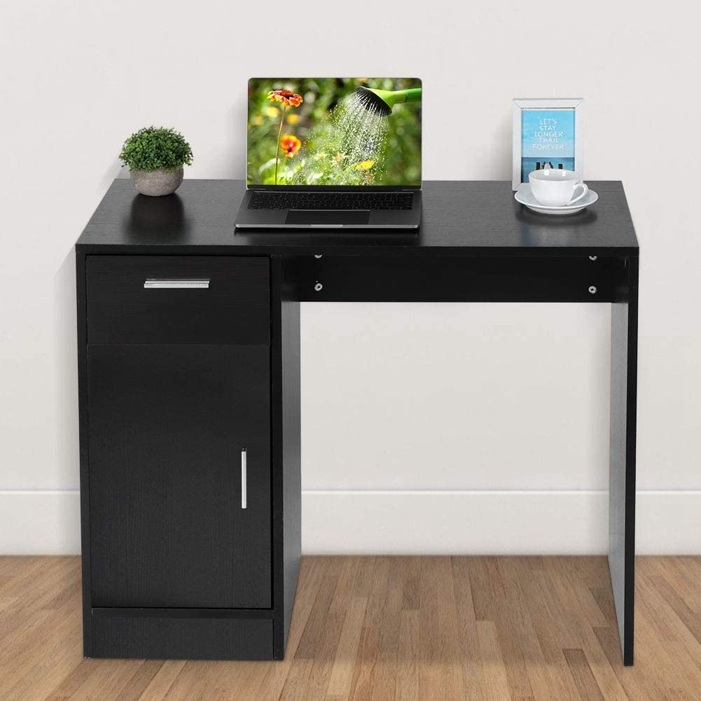 Computer Desks,PC Laptop Desk Corner Desktop Desk End Table Compact Gaming Table Writing Study Table Workstation with 1 Door and 1 Drawer for Small Space Home Living Room Office Bedroom Black