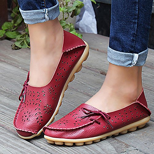 Casual Dear Wine Shoes Womens Leather Dear Queen Queen Red Loafer 58qwgXPg