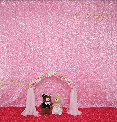 - B-COOL 4ftx7ft Rose Pattern backdrop Pink Satin Rosette backdrops Stage Backgrounds For Photography/Wedding Party