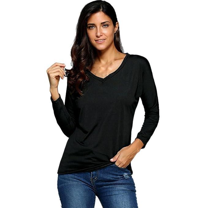 OverDose Las mujeres largas flojas de la manga V cuello jersey blusa de la camisa camisa