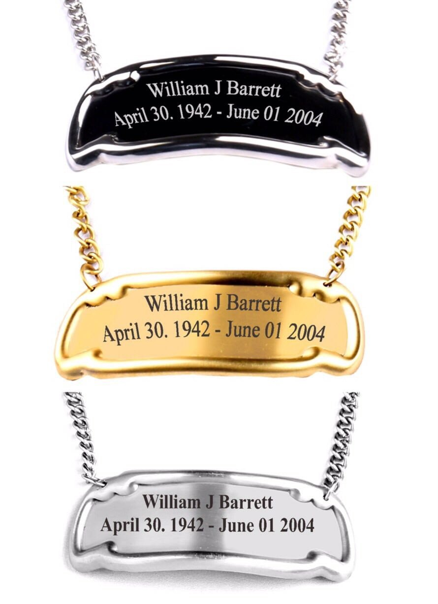 MEMORIALS 4U Customized Engraved Brass Name Tag for Cremation Urn, Hanging Name Tag for Adult urn for Human Ashes (Pewter)