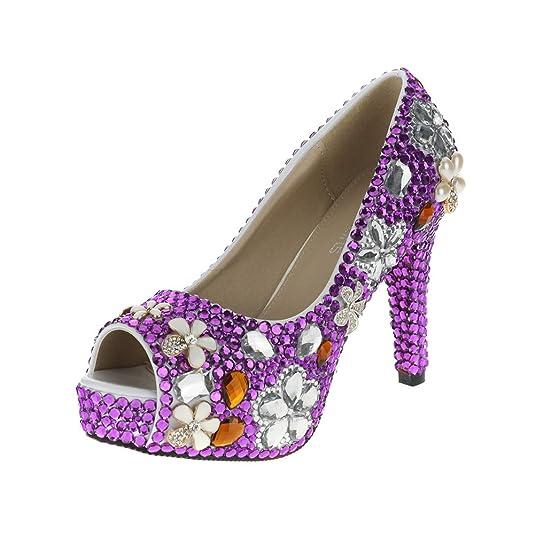 Amazon.com   VELCANS Purple Crystal Rhinestone Wedding, Party and ...
