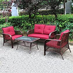 4 PCS Outdoor Patio Sofa Set Sectional Furniture PE Wicker Rattan Deck Brown