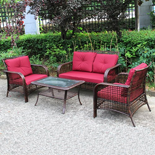 4 PCS Outdoor Patio Sofa Set Sectional Furniture PE Wicker Rattan Deck Brown