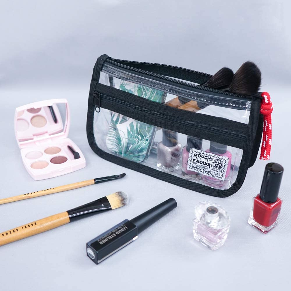 Rough Enough Clear Cute Pencil Case for Girls Makeup Organizer TSA Approved Toiletry Bag for Mens Women Boys Small Clear Travel Pouch Bag for Bottles College School Supplies Swim Essential Accessories