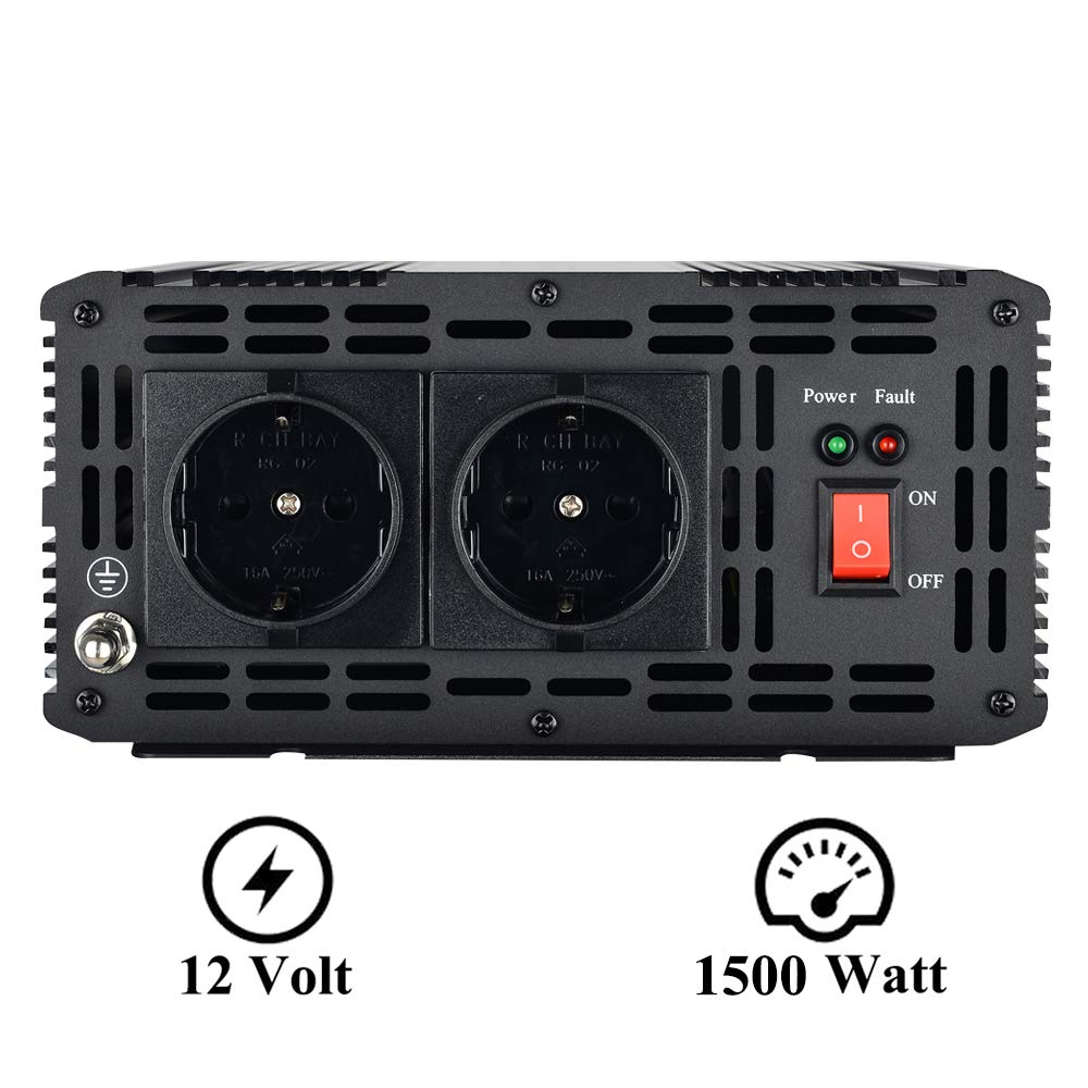 EnRise Convertisseur Pur Sinus 12V 220V 230V Onduleur 1500W Pic 3000W Transformateur de Tension