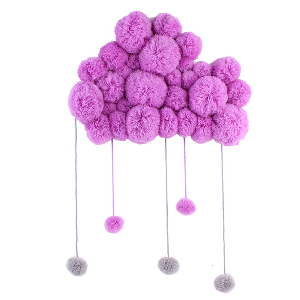 VORCOOL Nursery Ceiling Mobile Hanging Cloud Raindrops for Kids Room Baby Shower Wall Decorations (Purple)