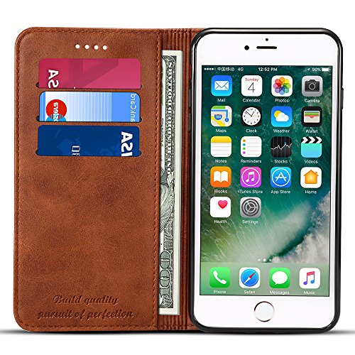 Iphone 6/6S Leather Wallet Phone Case Iphone Case with Card Holder Kickstand Protective Flip Cover Brown Cover ()