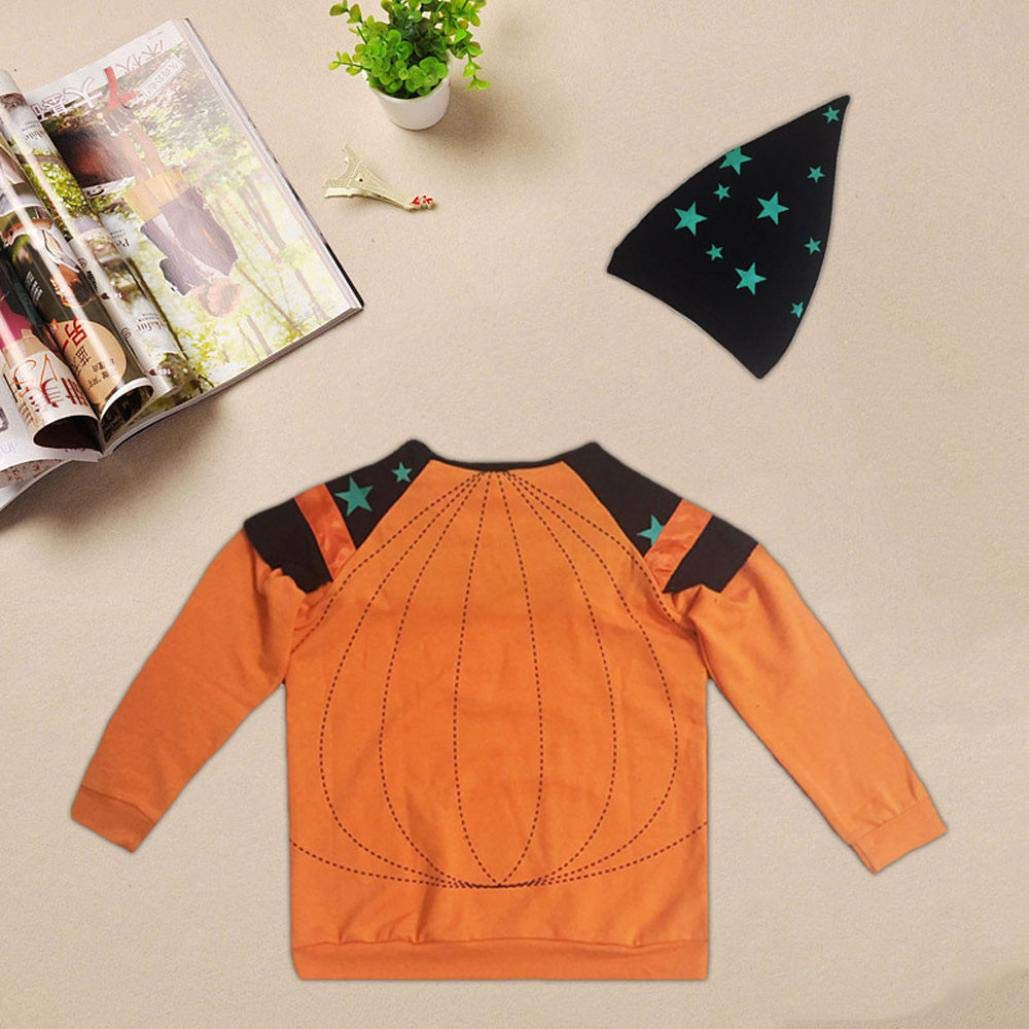 Halloween Party Kid Outfits,Fineser Toddler Kids Baby Boy Girls Clothes Long Sleeves Stars Print Top+Hat Clothes 2 Sets