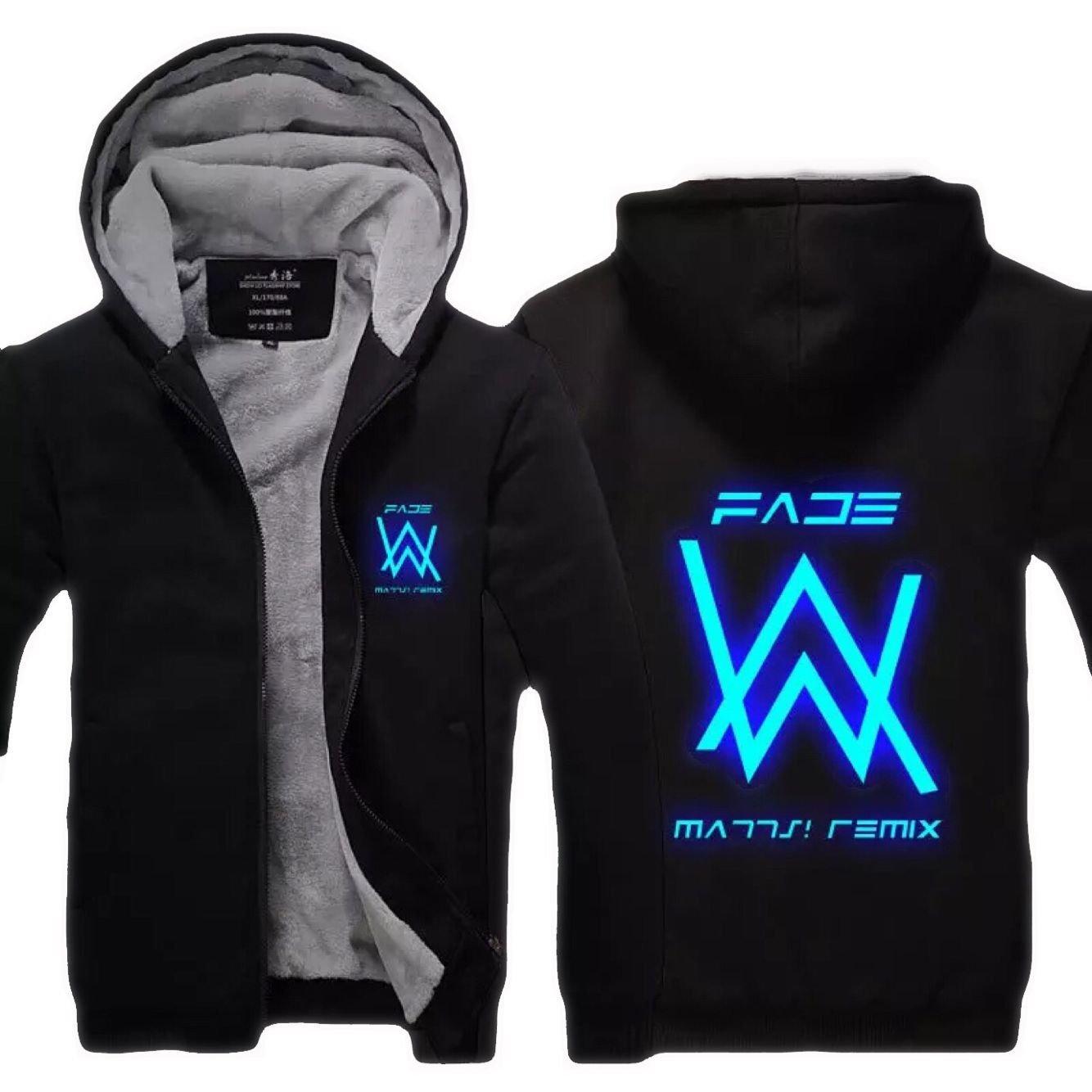 Cosfunmax Alan Walker Hoodie Sweatshirt Fade Cosplay Zipper Winter Plus Velvet Thicken Jacket Coats S