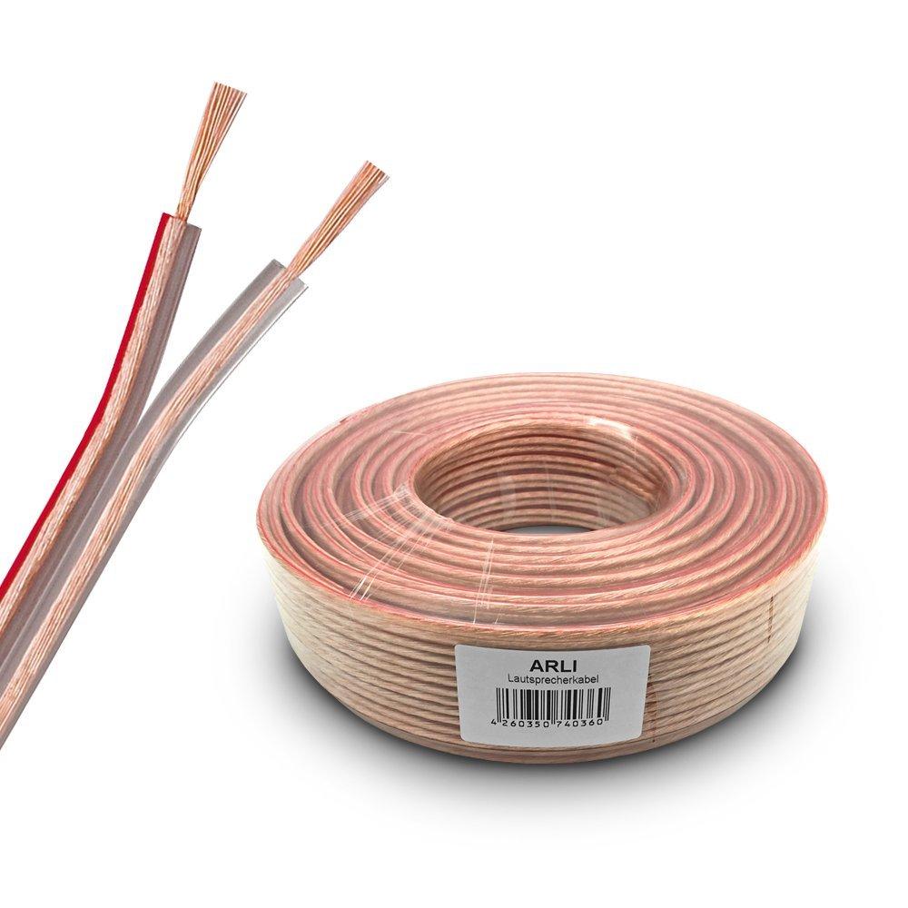 Lautsprecherkabel 25m 2x2,5 mm/² Lautsprecher Kabel transparent Boxenkabel Polarit/ätskennzeichnung 25 m 2 x 2,5mm CCA Kupfer Boxen ARLI