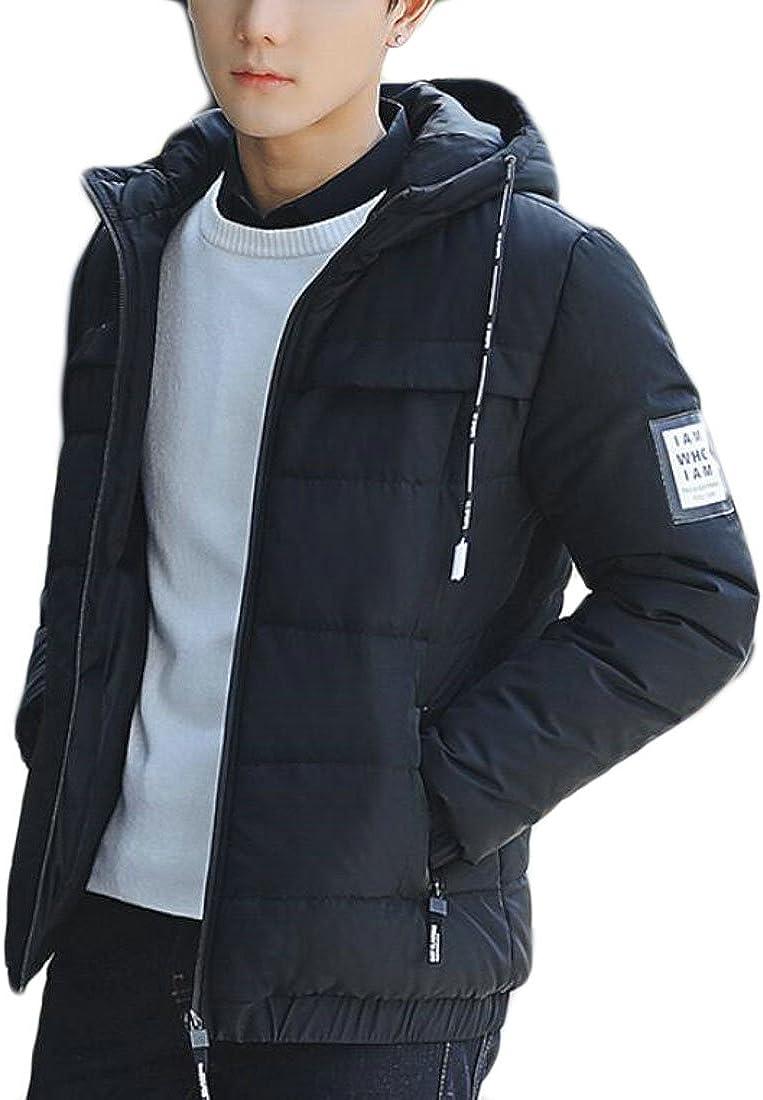 RRINSINS Mens Winter Solid Lightweight Puffer Hooded Down Jacket