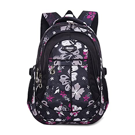 Tofern – Mochila escolar de flores negra – Cómoda, ergonó