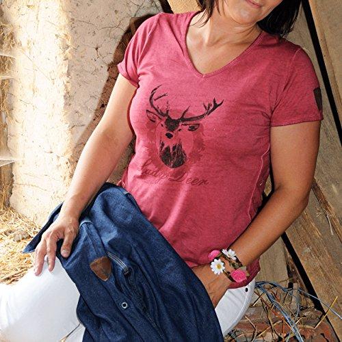 Vintage T-Shirt, Damen-T-Shirt, Trachtenshirt, Hirsch, Lady Deer, rot