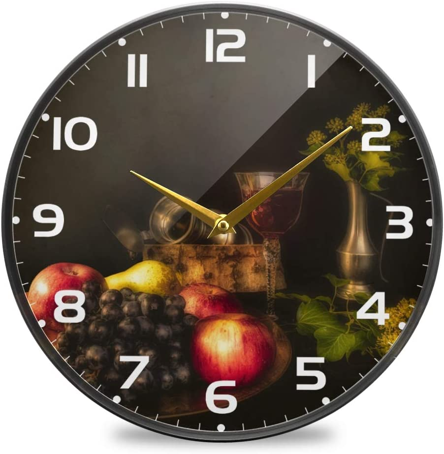 vvfelixl Still Life Fruit Pears Apples Grapes Red Wine Wall Clock Battery Operated Silent 9.5