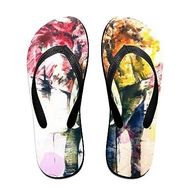 Unisex Non-slip Flip Flops Bright Color Elephant Cool Beach Slippers Sandal