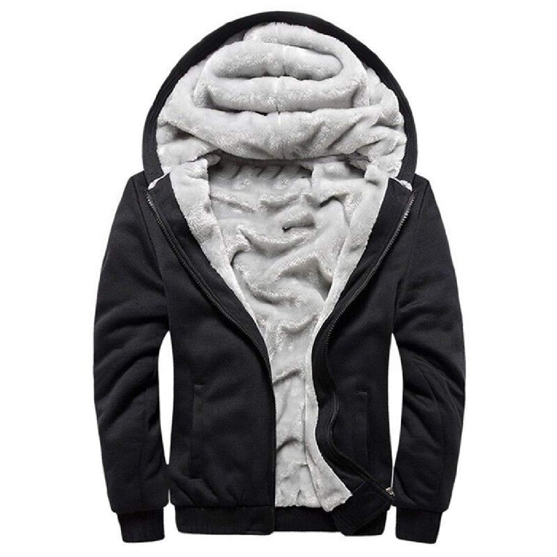 Godeyes Mens Thickening Zip Plus Velvet Relaxed-Fit Solid Hooded Sweatshirt