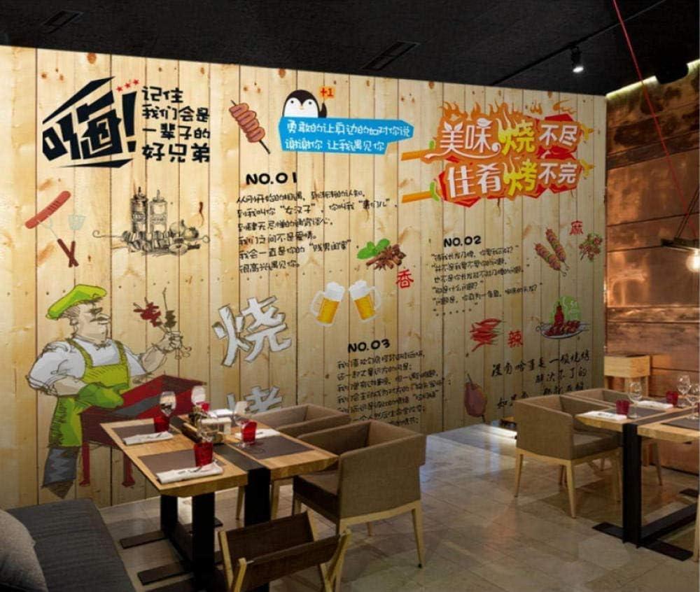 lliuuroc--Papel Pintado Personalizado Minimalista Moderno Mural 3D Estéreo Barbacoa Pintada A Mano Restaurante Restaurante Mural Pared -157.5X110.2 Pulgadas