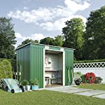 Metal-Garden-Shed-Small-Outdoor-Storage-66-x-4-with-Extra-Strength-Sliding-Doors-Weatherproof-Pent-Roof-by-Waltons-Deluxe-With-Foundation-Kit-Dark-Green