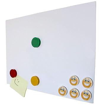 Lámina metálica autoadhesiva, DIN A2 (594 x 420 mm), revestimiento adherente de color blanco, base flexible para imanes de neodimio