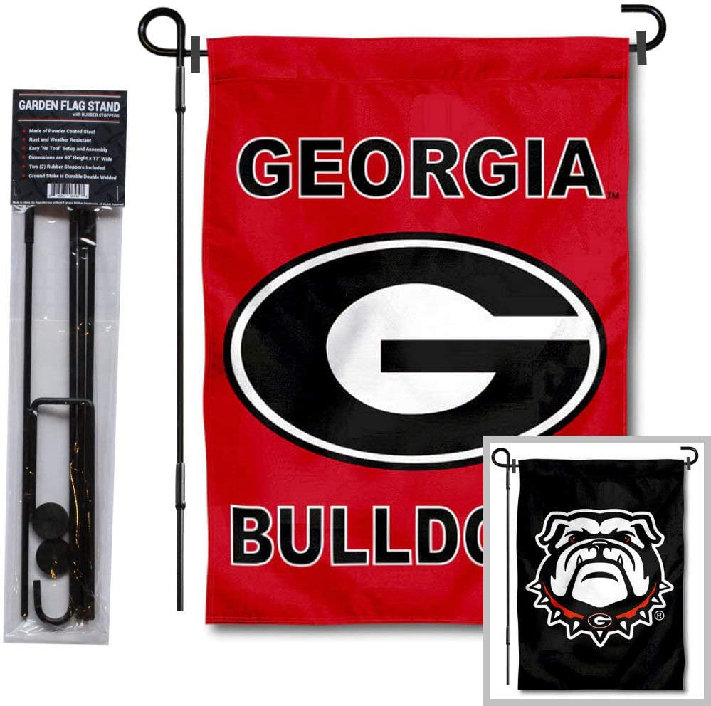 University of Georgia Double Logo Garden Banner Flag and Flag Stand Pole Holder Set