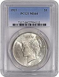 1922 US Peace Silver Dollar $1 MS64 PCGS