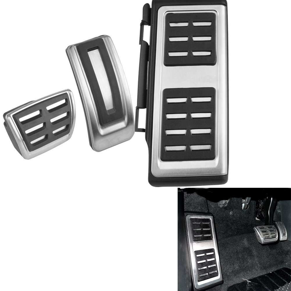 Angelguoguo No Drill Stainless Steel Pedals Footrest Cover Accelerator Brake For 2013-2015 Audi A3 S3 (For AT)