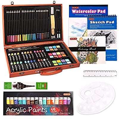 Art Set, 115 Piece Shuttle Art Art Supplies in Wooden Case, Painting Drawing Art Kit with Acrylic Paint Colored Pencils Oil Pastels Watercolor Cakes Coloring Book Watercolor Sketch Pad for Kids Adults